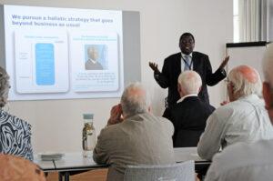 Dr. Mapoko Mbelenge Ilondo understregede betydningen af at Novo Nordisk har været til stede i Afrika gennem mange år, og at man gjorde en stor indsats for at sikre 'affordable prices' for diabetes patienterne (foto: Hasse Ferrold)